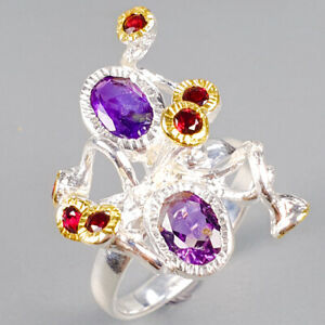 Handmade-Natural-Amethyst-925-Sterling-Silver-Ring-Size-8-75-R125941