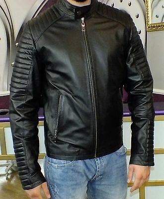 Details zu Coole Lederjacke Bikerjacke für stilvolle Herren Echtes Leder Gr.46 NEU