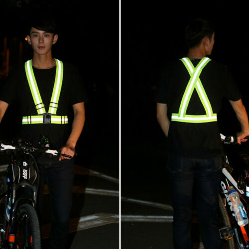 Outdoor Cycling Safety Vest Bicycle Ribbon Light Reflecting Harness for Nights