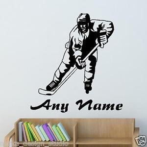 Hockey Sur Glace Autocollant De Vinyle Wall Art Stickers Personnalisé Mural N25