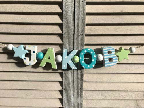 "/""JAKOB/"" Nom Chaîne Enfants Chambre holzbuchstaben Baptême Naissance Baby nom Shabby"