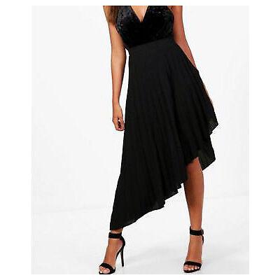 Womens Poppy Asymmetric Pleated Crepe Midi Skirt