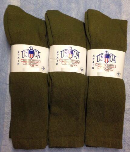 9pr Men/'s US Army Military Issue Anti-Fungal OTC Boot Socks OD GREEN 10-13 LG