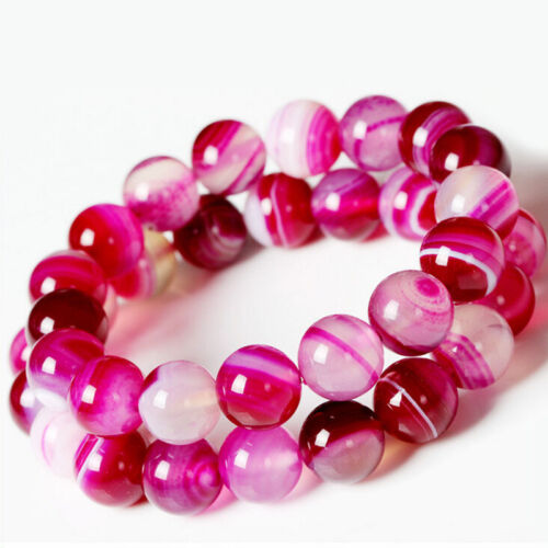 Wholesale Lots Natural Rose Striped Agate Gemstone Loose Spacer Beads 4//6//8//10MM