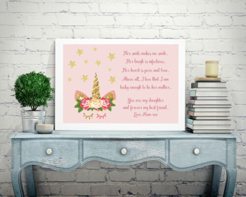 Personalised Family Picture Print Unframed Gift Unicorn Poem Mum Daughter P121