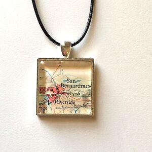 Details about SAN BERNARDINO RIVERSIDE CALIFORNIA USA Map Pendant Silver  necklace ATLAS