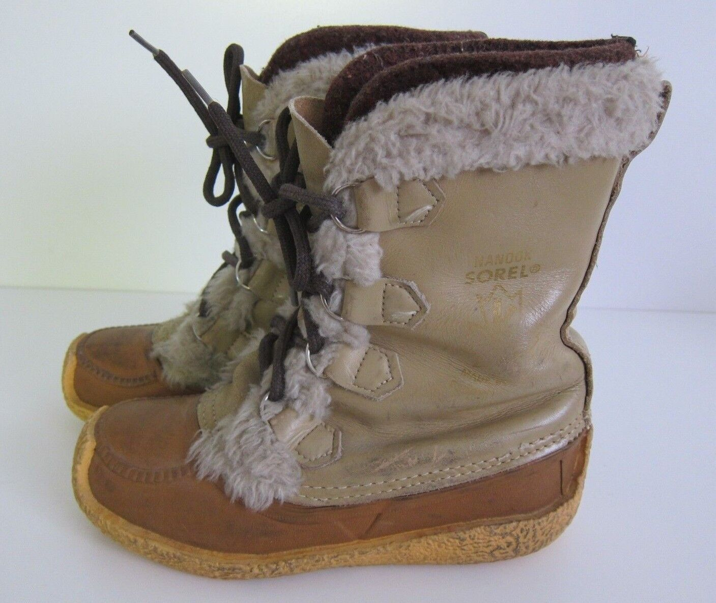 Vintage Sorel Made In Canada Wool Leather Rubber Winter Snow Boot Size 7