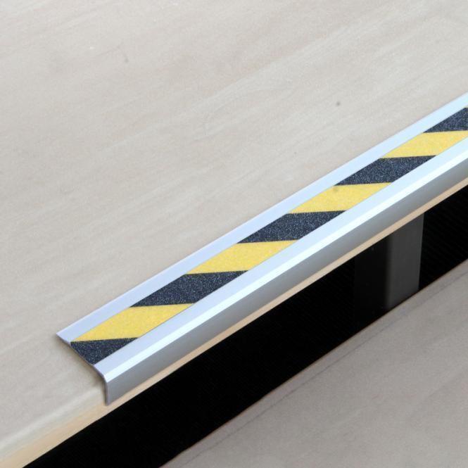 Antirutsch Treppenkantenprofil schwarz gelb gummiert 53x1000x31 Aluminium