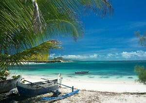 Cool-Madagascar-Beach-Poster-Size-A4-A3-Boat-Nature-Seaside-Poster-Gift-12597