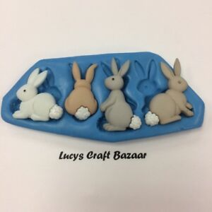 Silicone-Mould-Easter-Rabbits-Bunny-Cup-cake-pop-decorating-toppers-chocolate