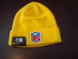 NFL LOGO SHIELD YELLOW NEW ERA STAFF WINTER TOBOGGAN BEANIE SKULL ... a268e9fdd76