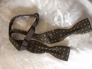 Vintage Austin Reed Silk Bow Tie 1960s Brown Gold Square Green Blue Ebay