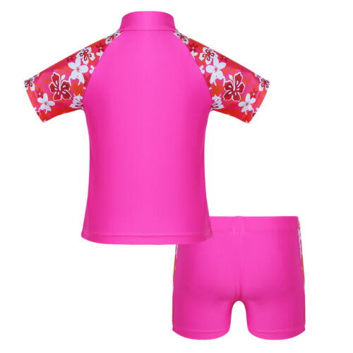 Girls One//Two Piece Rash Guard Swimsuit Floral UPF 50 Sun Protective Swimwear
