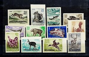 ROMANIA-1956-ANIMALS-HUNTING-IMPERFORATE-FULL-SET-MNH-ORIGINAL-GUM-VF