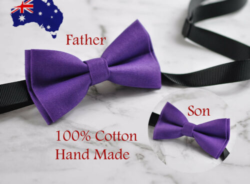 Father Son Match 100/% Cotton Handmade Solid Purple Bow Tie Bowtie Party  Wedding