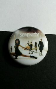"SERENITY FIREFLY CAST GROUP RIVER MAL PHOTO MOVIE TV SM 1"" PINBACK BUTTON PIN"