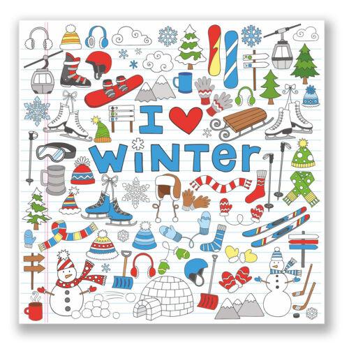 2 x I Love Winter Vinyl Sticker iPad Laptop Car Helmet Kids Snowboard Ski #4460