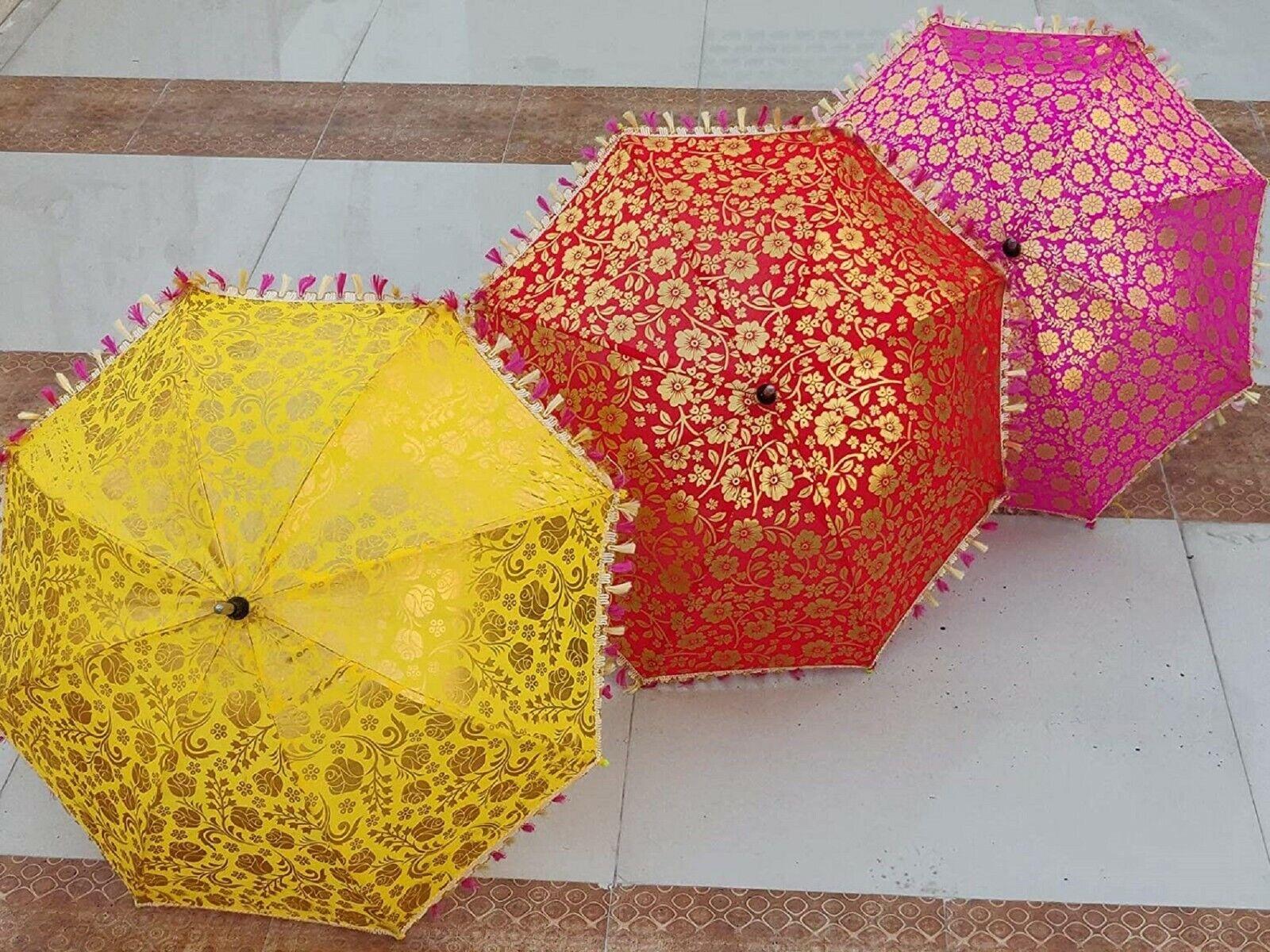 Handmade Printed Gold Flower Umbrellas Indian Women's Kids Sun Shade Parasols