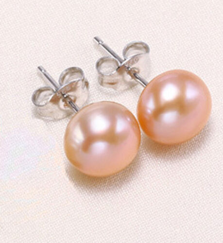Genuine Pearls Earring Oblate Natural Freshwater Pearls S925 Silver Stud Lady