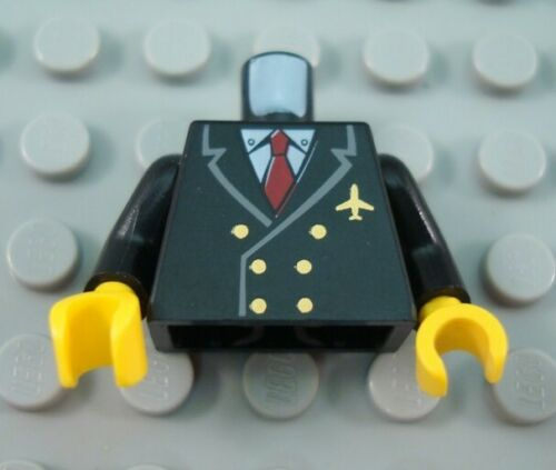 LEGO Black Airplane Pilot Minfiig Torso Body Part with Red Tie