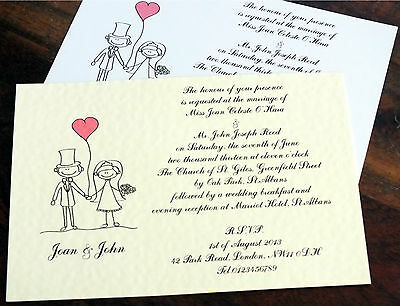 50 Personalised Handmade Wedding Invitations Day Evening Bride Groom RSVP NEW