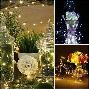 LED-Pile-A-Piles-Argent-Fil-De-Cuivre-Lumiere-feerique-DIY-Noel-Decor-De-Mariage