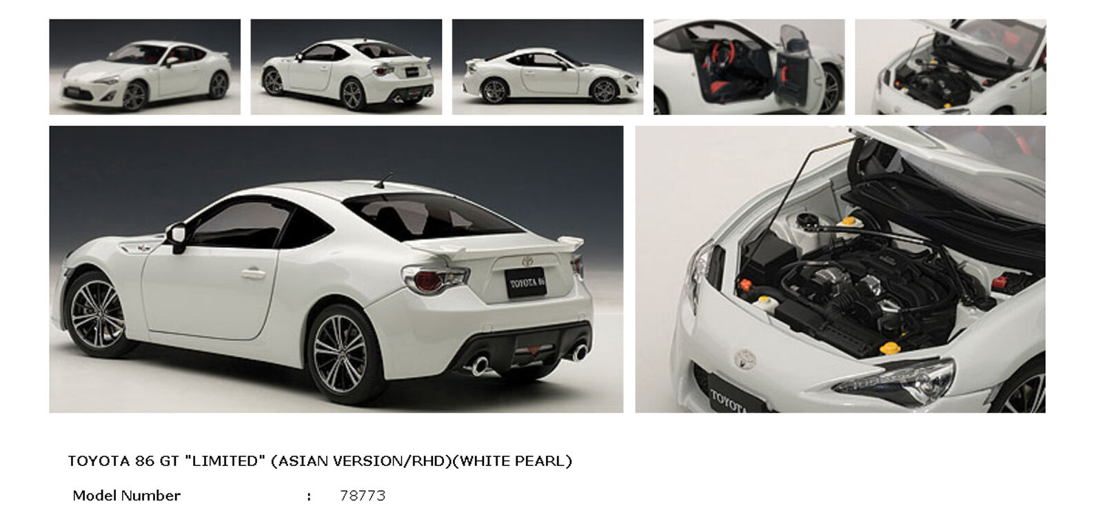 AUTOART 1 18 TOYOTA FRS 86 GT LIMITED ASIAN VERSION RHD WHITE PEARL 78773