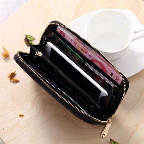 US New Cartoon Cat Leather Zipper Clutch Wallet Long Card Holder Purse Handbag