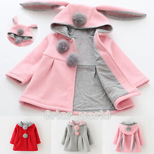 0891cd20a Cute Rabbit Ear Hooded Girls Coat Warm Kids Jackets Outerwear ...