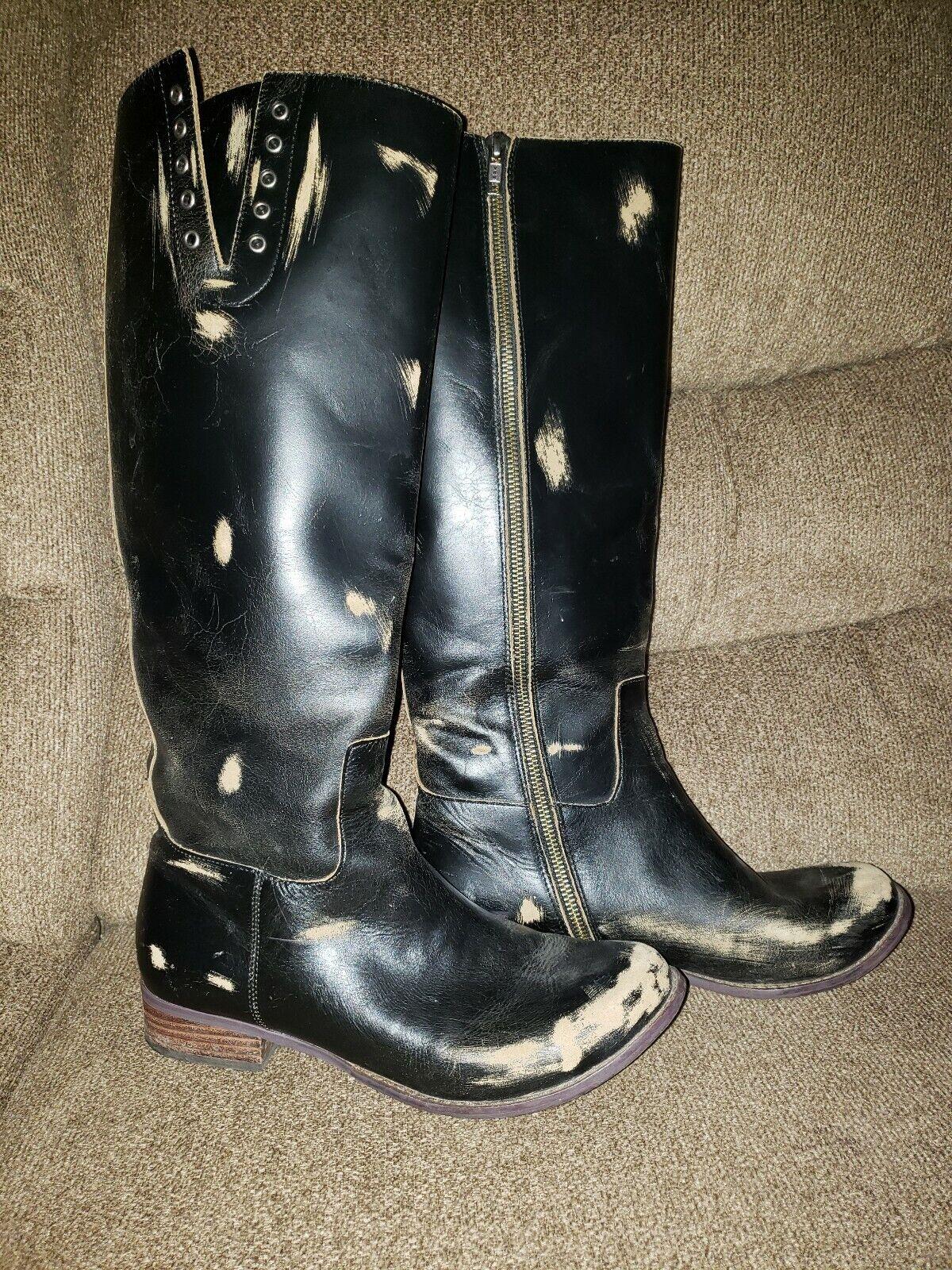 FREE PEOPLE FARYL ROBIN tall  Boots 10 black Distressed Grunge zipper