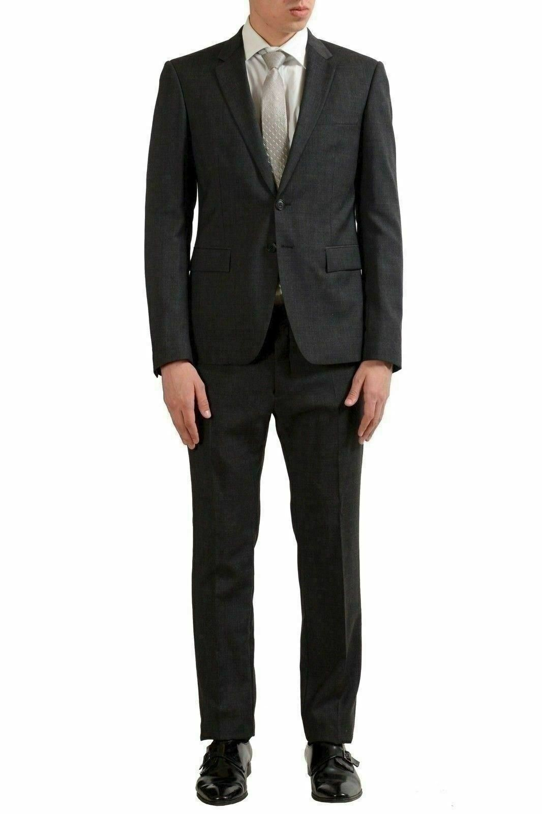 Just Cavalli Men's Charcoal 100% Wool Plaid Two Button Suit US 38 IT 48