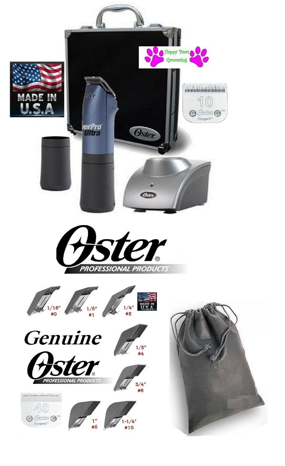 Oster Powerpro Ultra Cordless A5 Tosatrice Set #10&40 Lama, 2Battery, 7Combs,