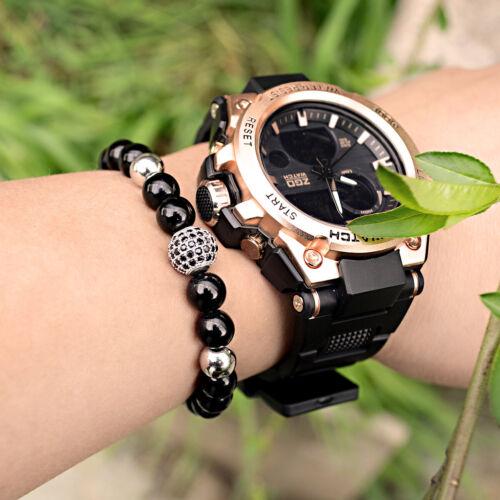 8 MM Brillant Noir Agate Zircon Micro Pave Round Ball Bead Adjust Bracelets Unisexe
