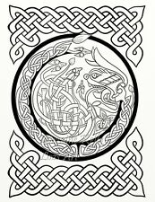 5 Celtic Knot Adult Coloring Pages PDF Download Prints Cross Dragon Angel 5-04