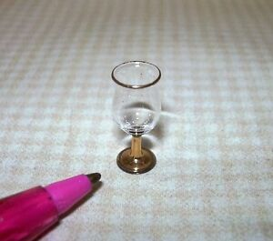 Miniature-Elegant-Poco-Grande-Glass-w-Gold-Stem-DOLLHOUSE-Miniatures-1-12