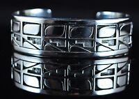 Navajo Sterling Silver Overlay Bracelet With Contemporary Hopi Design Tim Yazzie