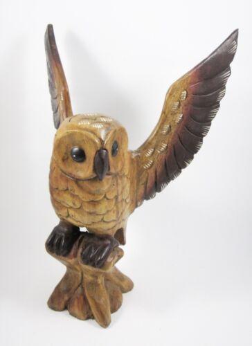 Chouette sur sa branche Sculpté en bois de suar 40x30 hiboux