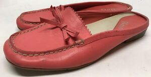 107881dff0e BASS Womens Coral Pink Leather Moc Toe Mules Clogs Loafers Womens ...