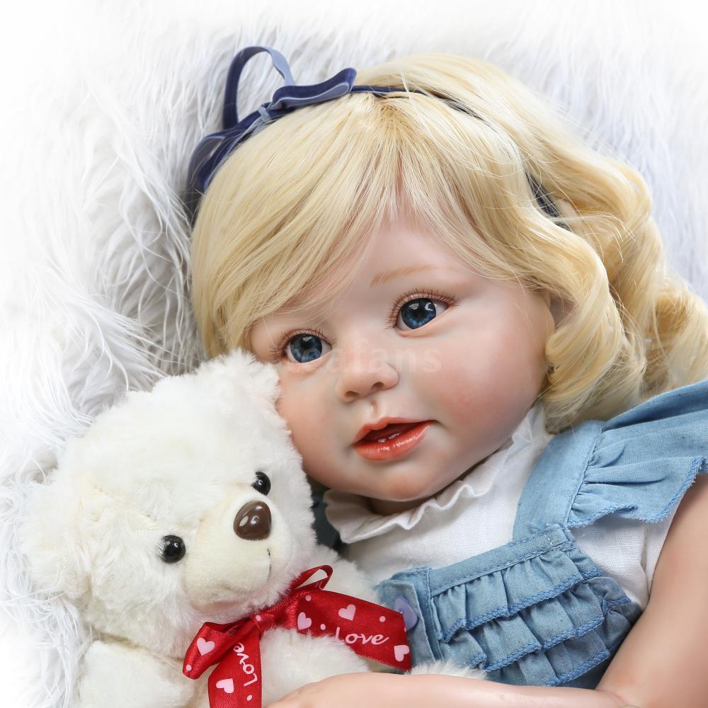 Pelo rizado 27  Dorado Juguete de Felpa Muñeca bebé realista de vinilo de silicona muñecas reborn