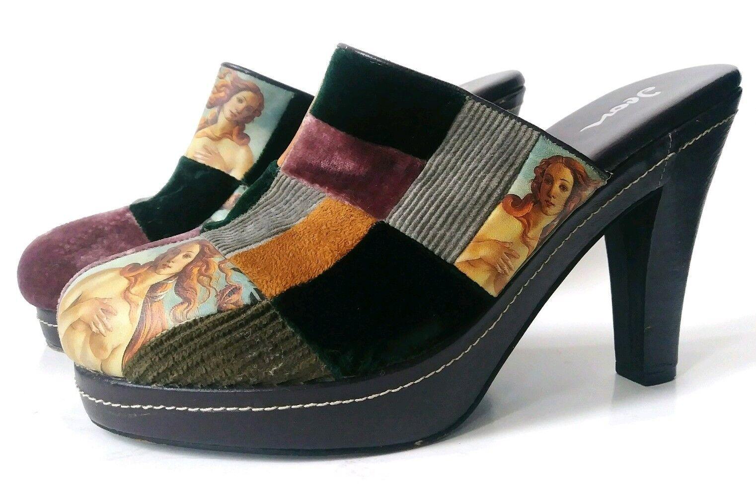 Botticelli Naissance de Vénus ART PEINTURE Icône Chaussure Talon Sabots Dk Marron Taille 8 Femmes