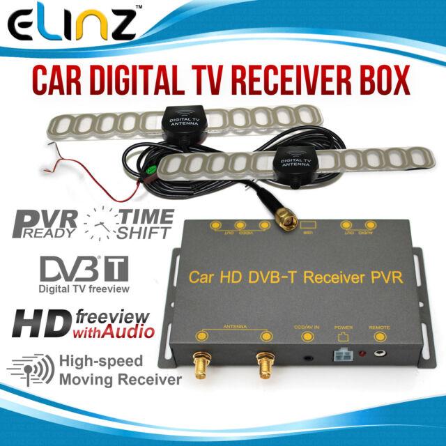 Mobile Digital TV DVB-T Receiver Box Tuner DUAL ANTENNAS for Car,Caravan,Boats