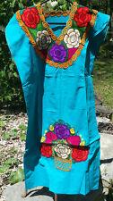 Maya Mexican Dress Embroidered Flowers Chiapas Puebla Teal Aqua Blue Large #RE