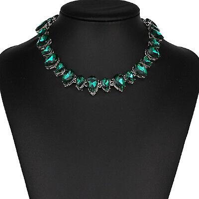 Strass rot Tropfen Glamour Design Kette Halskette Collier Silber plattiert neu