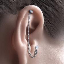 Helix Tragus Piercing Kette mit Zirkonia 4 mm  925 SILBER Ohrring Ohrpiercing 1-