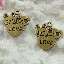 Free Ship 60 pieces bronze plated rabbit panda heart charms 20x18mm #275
