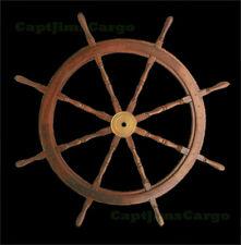 "Teak Wooden Ships Steering Wheel 47"" Helm Nautical Boat Maritime Decor New"