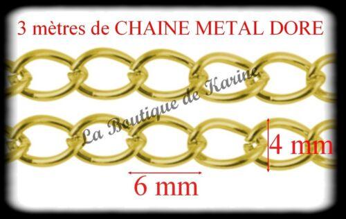 3 M DE CHAINE METAL DORE SANS NICKEL 6 x 4 mm CREATION BIJOUX PERLES