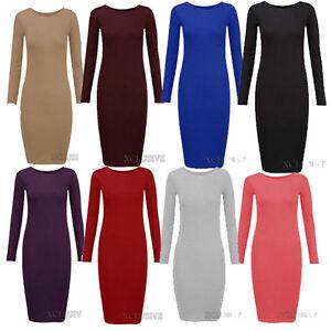 New Ladies Plus Size Long Sleeve Midi Bodycon Stretch Jersey Dress ...