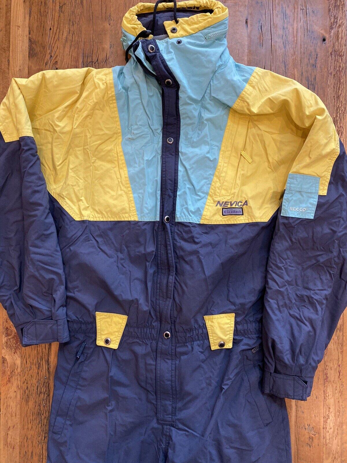 Vintage 80s 90s NEVICA Mens XL 44 SKI SUIT One piece Snow Bib Snowsuit Recco