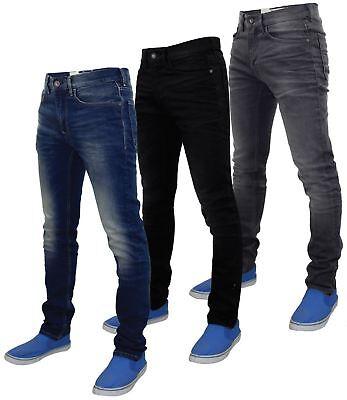 Da Uomo Designer Jeans Pantaloni Pants Jeans Pantaloni Blu Denim Slim Fit Skinny Club Nuovo